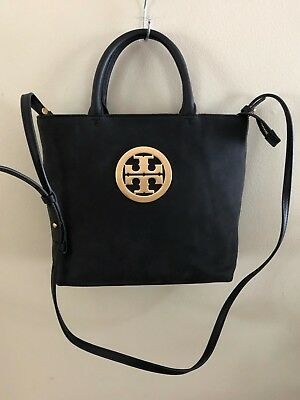 07267de9f73 NWT 52872 Tory Burch Black Leather Charlie Small Convertible Tote  398