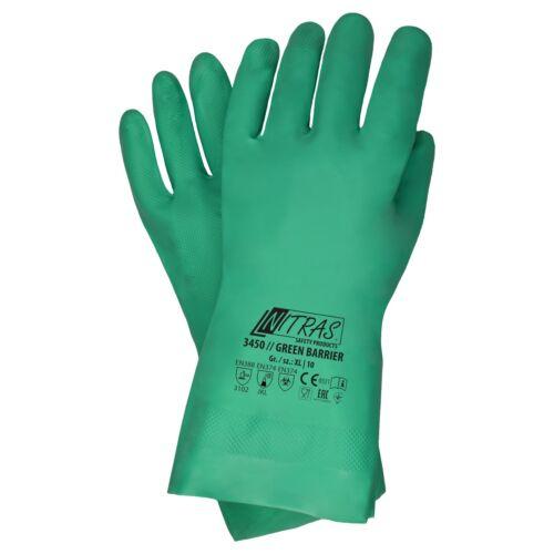 144 Paar NITRAS 3450 Chemiekalien Nitril G 7-11 grün EN374 Schutzhandschuh