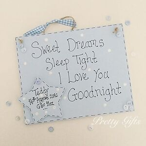 Details about Personalised Baby Gift - Sweet Dreams Sleep Tight I Love You  Goodnight Plaque