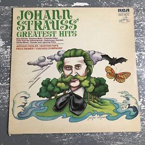 Johann Strauss Greatest Hits Fiedler Boston Pops Vinyl Record LP VG+ LSC-5005