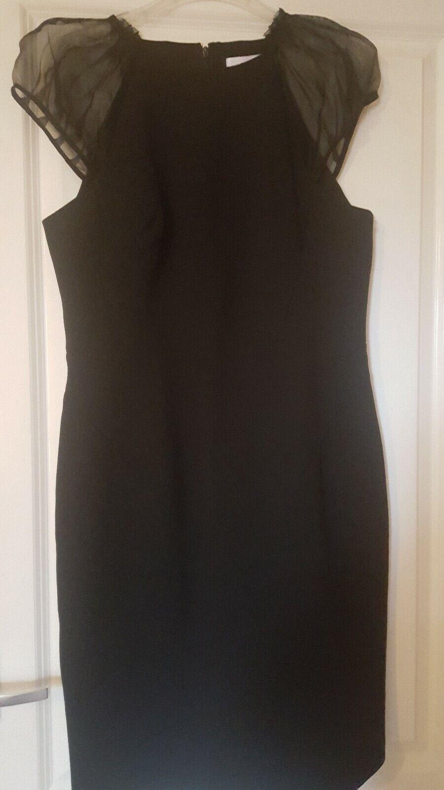 Bnwt Reiss 'Rowane' Designer soie noire hommeches moulante robe de soirée UK 14