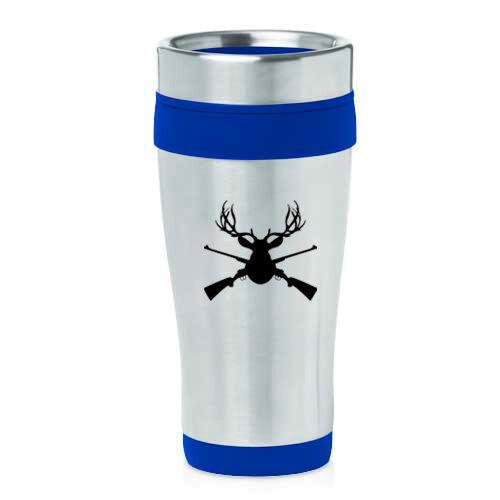 Stainless Steel Insulated 16oz Travel Mug Coffee Cup Deer Hunter Head Rifle