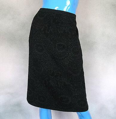 Eileen Fisher Black Gray Pencil Skirt M 8 10 12 Wool Blend Ponte Crepe Textured