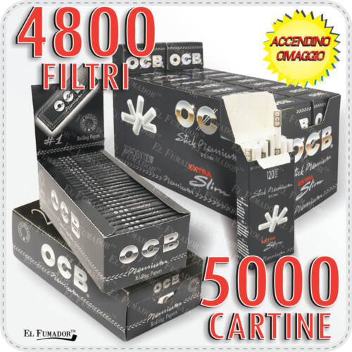 5000 Cartine OCB NERE PREMIUM CORTE 4800 Filtri OCB EXTRA SLIM 5,7mm ULTRA