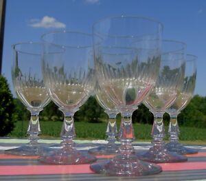 Service-de-6-verres-a-eau-en-verre-taille-decor-biseaute-jeux-d-039-orgue-Debut-Xx