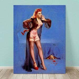 Vintage Pin Up Girl Canvas Print Gil Elvgren 36x24 Puppy Hiding Labrador Dog Ebay