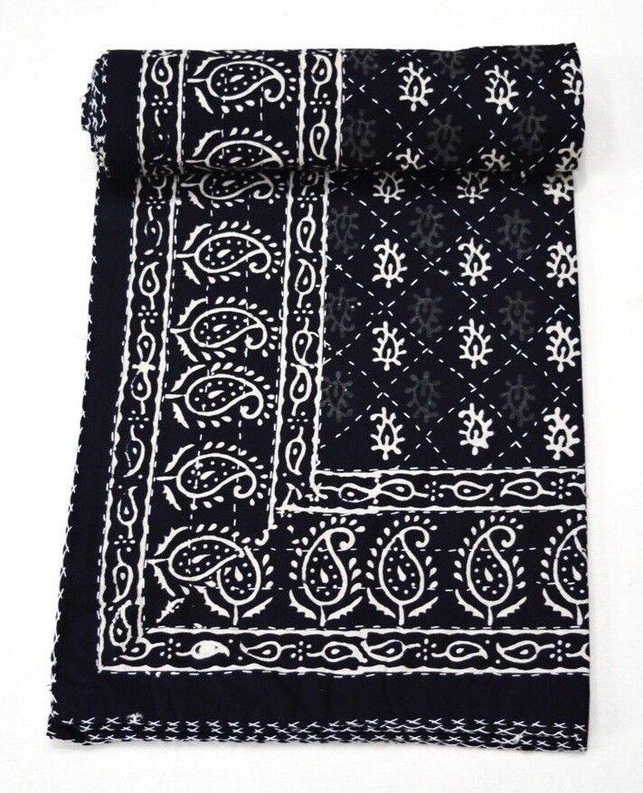 Ajrakh Print Indian Kantha Quilt Throw Bedspread Reversible Twin kantha Blanket