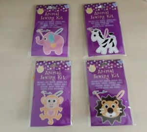 Lion Elephant or Monkey age 3+ Childrens Animal Sewing Kit