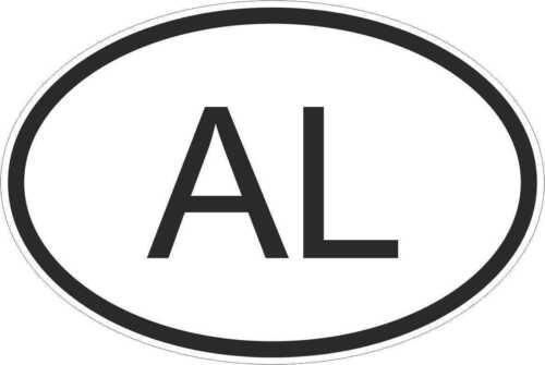 OVAL sticker flag country code bumper decal car albania albanian AL