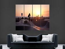 SKATE PARK SKATEBOARDING  SUNSET LA BEACH USA ART HUGE GIANT POSTER PRINT
