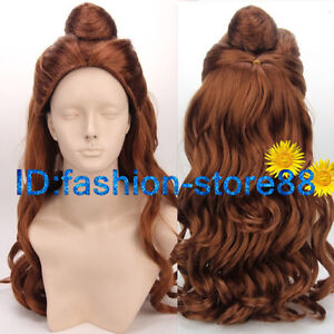 Belle COS wig New vogue sexy women s long Brown Cosplay Anime Curly ... b15d9661b6