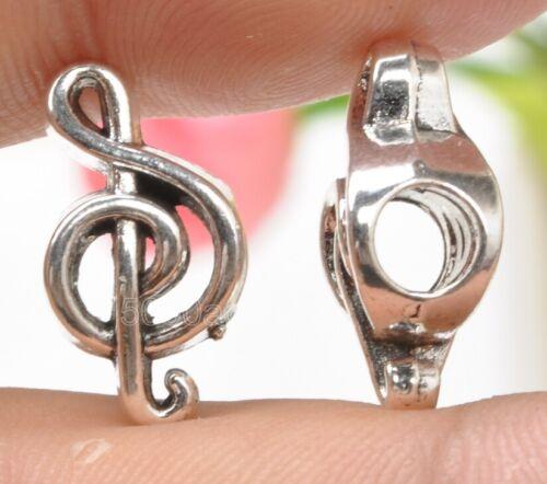 15pcs Tibetan Silver Musical Note Big Hole beads Fit Bracelet 17x9mm A3358