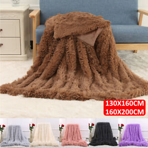 Details about MECO Luxury Large Long Pile Faux Fur Throw Sofa Bed Warm Soft  Blanket