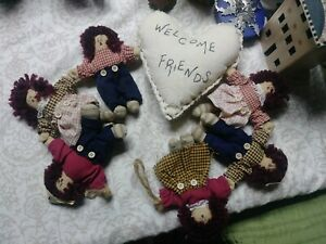 Folk Art Primitive Dolls & Heart Raggedy Ann Andy Vintage OOAK Decoration Cute
