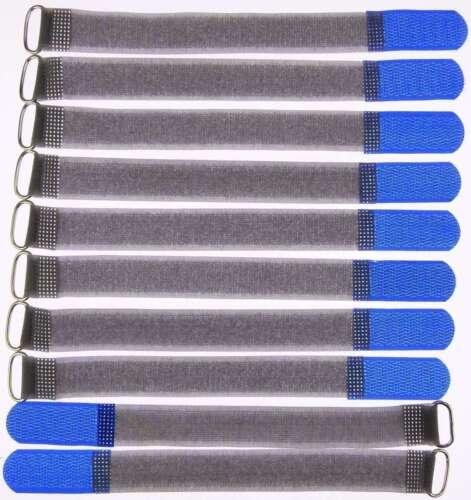 10 Velcro Serre-câbles avec œillet 200 x 20 mm Bleu FK Serre-câbles Velcro Câble Velcro