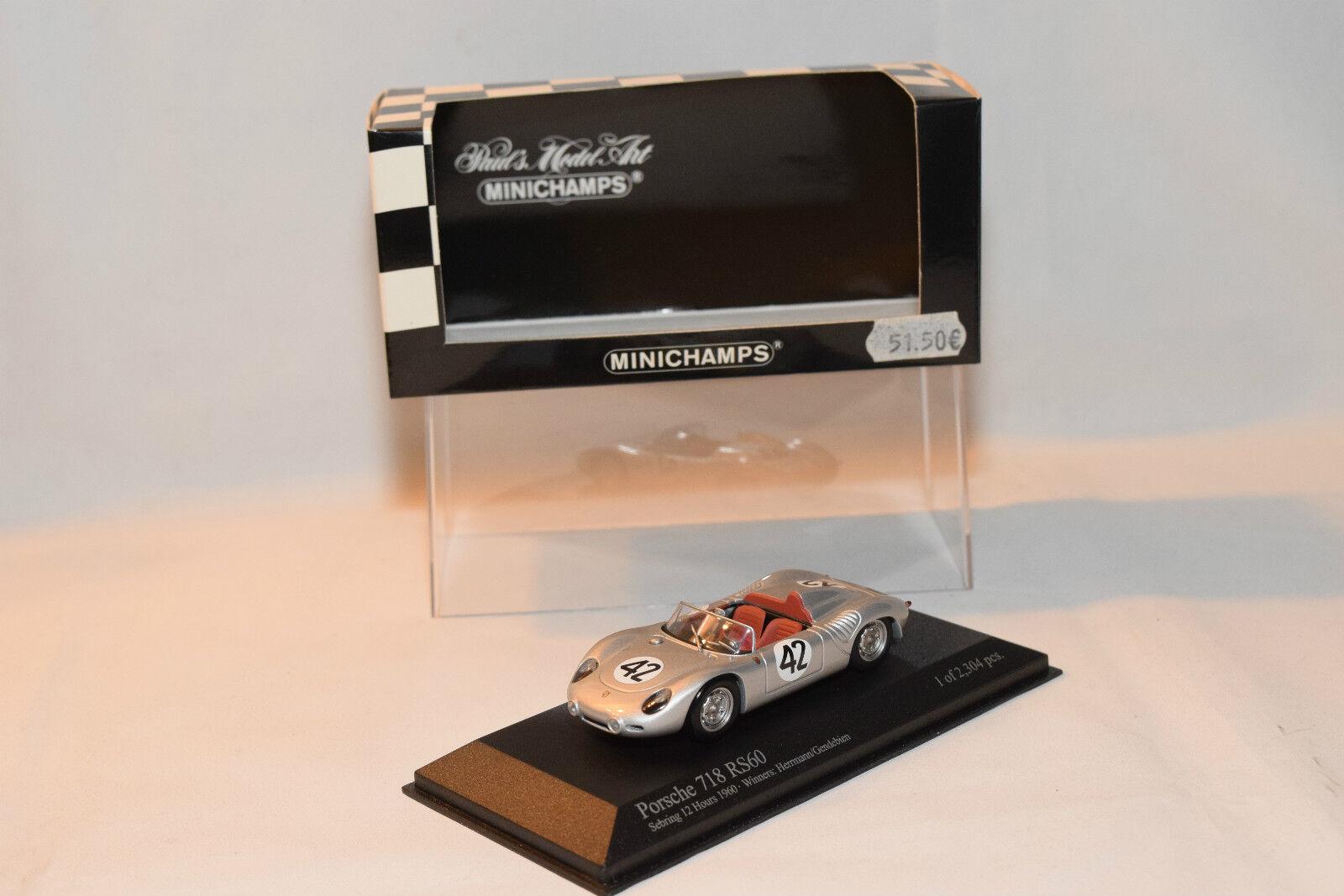 . MINICHAMPS PORSCHE 718 RS60 SEBRING 12 HOURS 1960 HERRMANN GENDEBIEN MINTBOXED