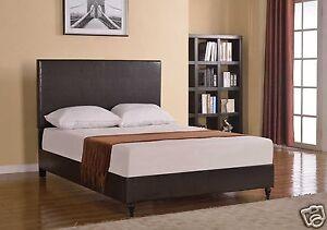 Brown Leather Full Size Platform Bed Frame Amp Slats Modern