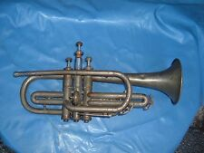 Cornet Brass vintage Horn ELKHART IND USA AMERICA ornamental  bell x valve