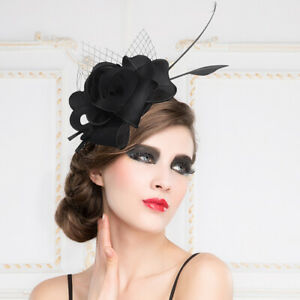Women/'s Kentucky Derby Church Wedding Noble Dress hat organza feather hat ADE