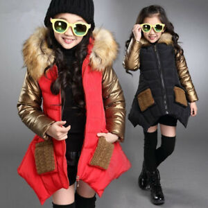 Girls Kids Winter Coat Jacket Padded School Quilted Puffer Fur Hooded Long Parka
