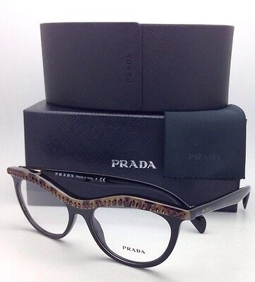 New PRADA Eyeglasses VPR 22P MA5-1O1 52-16 Black & Havana Cat-Eye w/ Crystals