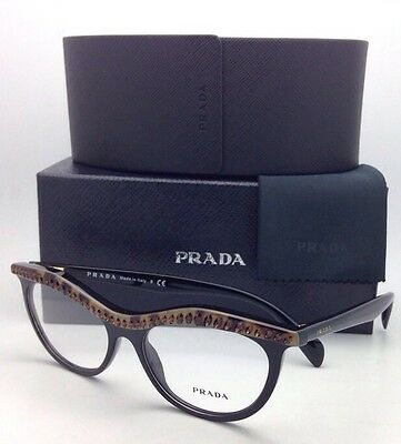 New PRADA Eyeglasses VPR 22P MA5-1O1 52-16 Black & Havana Cat-Eye w/ Crystals
