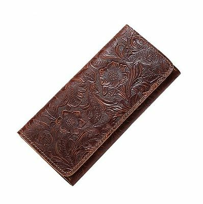 Women's Vintage Embossed Genuine CoW Leather Long Wallet Purse Handbag 4colors