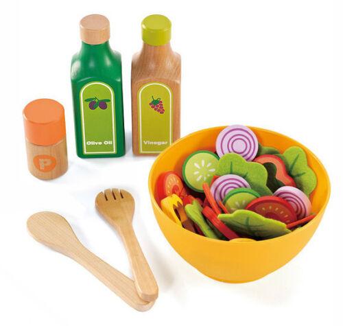 kitchen pretend cooking Wood and Felt New HaPe Garden Salad Play Food Set