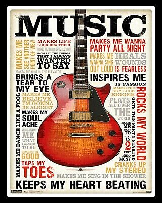 Music Guitar Rocks My World Keeps My Heart Beating Sing Dance Tin Metal Sign