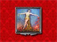Flapper Pin Up Girl Dancer Vintage Art Deco Makeup Pocket Compact Mirror