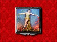 Flapper Pin Up Girl Dancer Vintage Art Deco Makeup Pocket Compact Mirror