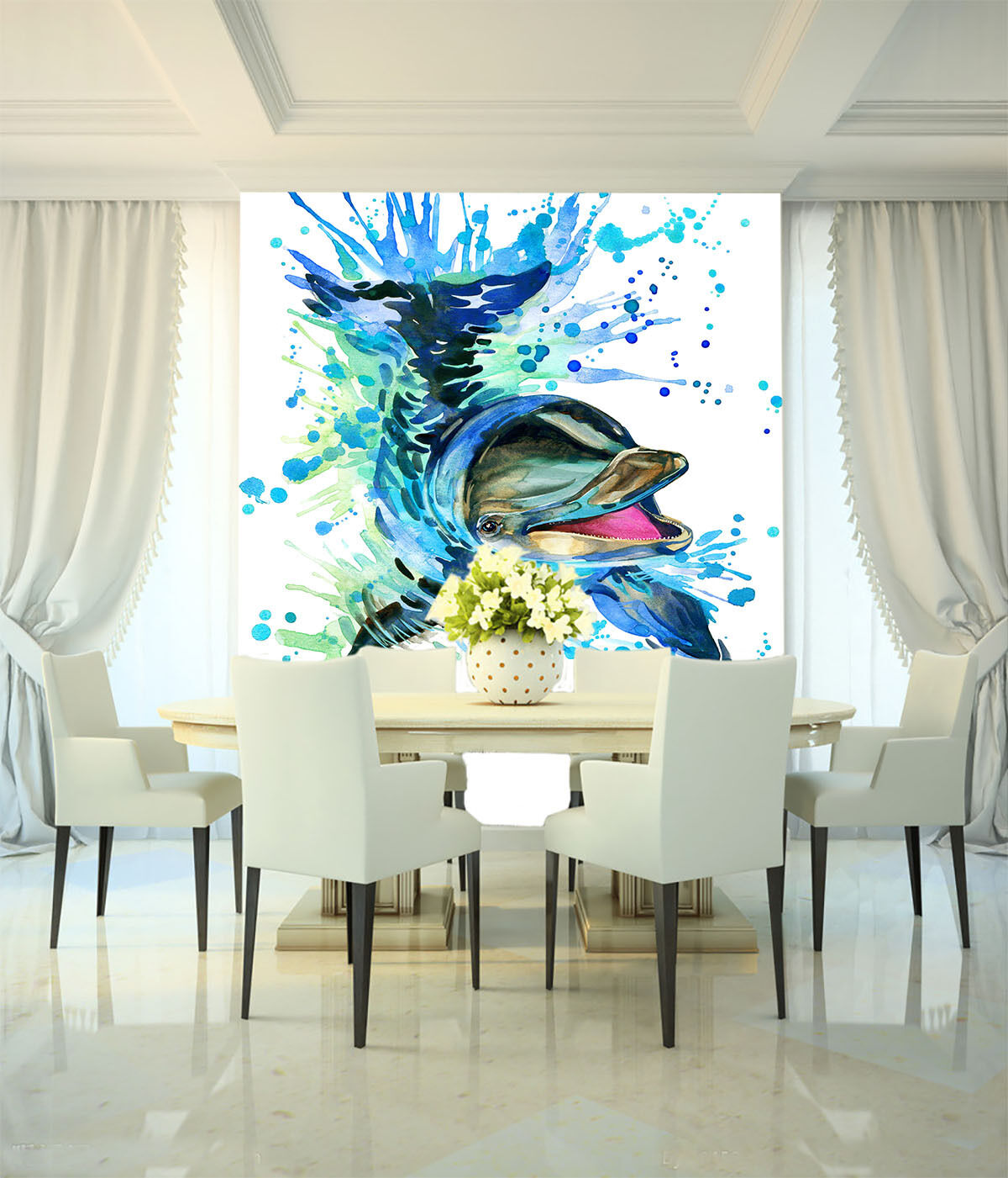 3D Dolphin Painting 649 Wall Paper Wall Print Decal Wall Deco Wall Indoor Murals