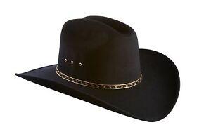 Faux-Felt-Wide-Brim-Western-Cowboy-Hat-Elastic-Band-Black-L-XL