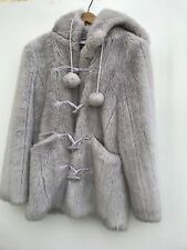 L@@K TOPSHOP DUFFLE COAT LADIES WOMENS LILAC MODACRYLIC HOODIE JACKET UK 10/12