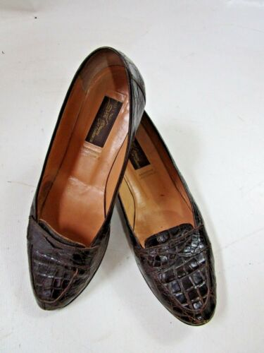 Sesto Meucci Brown Genuine Size 8 Loafers Dark Crocidile gO8BqAwxOr