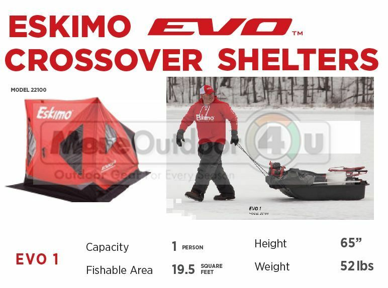22100 NEW Eskimo Evo1 Crossover Shelter Pop Up Towing Sled Tub Swivel Chair