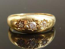 Stunning Gents Victorian 18ct gold 0.25ct 3 Old Cut diamond gypsy star set ring