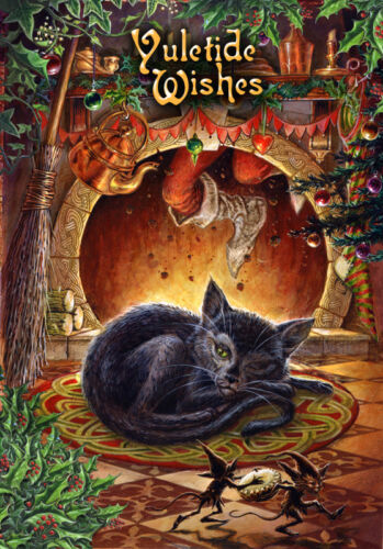T/'was the Night before Yule Fantasy Weihnachtskarte Postkarte Grußkarte
