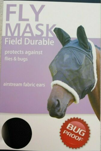 Black Shires Field Durable Fly Mask with Airstream Fabric Ears Pony 6658