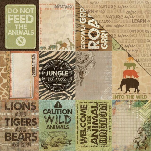Kaisercraft 12x12 Scrapbooking paper, Into the Wild Collection, Zoo