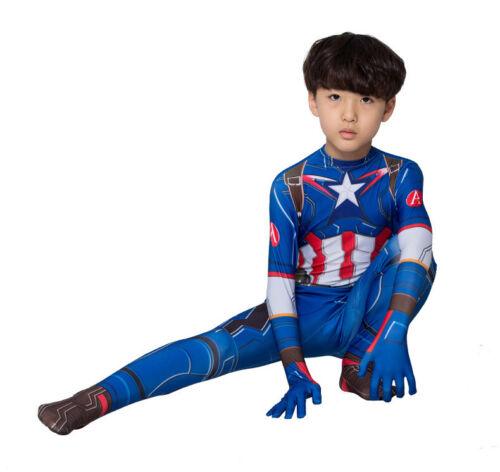 Details about  /US Kids Captain America Cosplay Costume Boys Girls Spiderman Jumpsuit Bodysuit