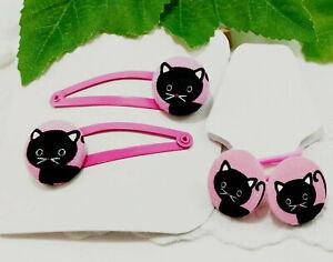 Rosa Katzen Kinder Haarspange Haargummi Zopfgummi Haarklammer Handarbeit katze
