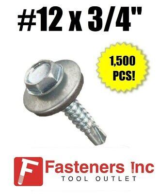 "INTERCORP HA1216 #12 x 1/"" Self Drilling Screw Hex Washer Head W// Washer 1,500"