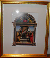 "MMA Madonna and Child Enthroned with Saints by Raphael Santi Framed 17x20"" BIN !"
