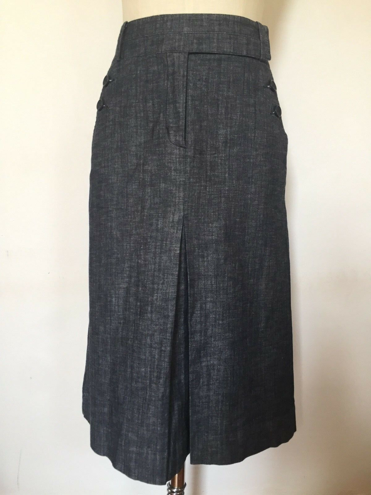 BNWOT Designer LAURA ASHLEY Soft Wash A Line & Pleat Detail Denim Skirt 12