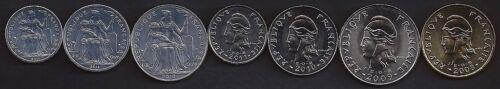 NEW CALEDONIA 1-100 Francs 2008-11 7 pc Coin Set UNC