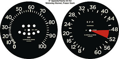 1930-36 WOLSELEY HORNET FRAZER NASH BENTLEY SPEEDOMETER TACHO GAUGE DECAL KIT