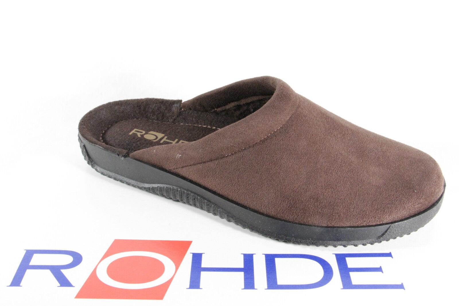 Rohde Pantuflas de Hombre Zapatillas Microgamuza Marrón, Forrado Nuevo