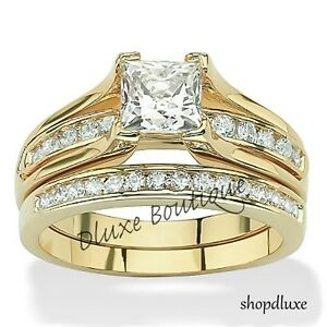 Image Is Loading Women 039 S 14k Gold Plated Princess Cut