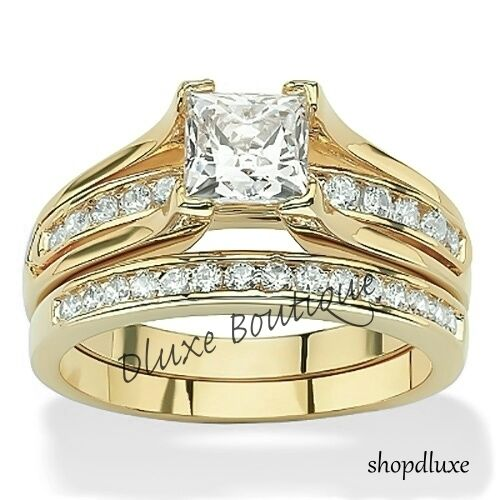 Women's 14k Gold Plated Princess Cut AAA CZ Wedding Ring Set Size 5,6,7,8,9,10